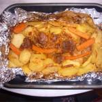 Мясной фарш с картофелем в фольге — Рецепт