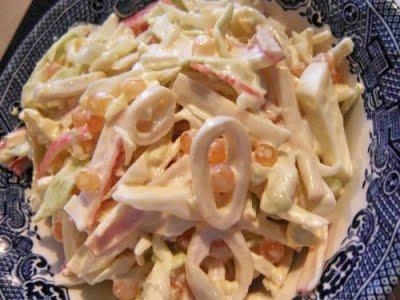 Салат с кальмарами и сыром Тофу