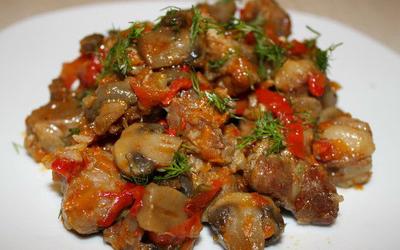 Тушёные овощи с шампиньонами