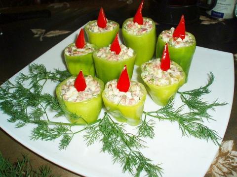 Закуска «новогодние свечи»
