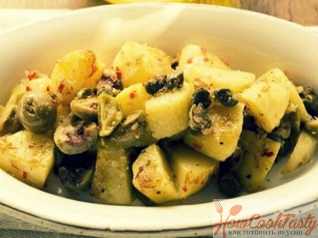Жареный картофель с оливками и лимоном по-мароккански