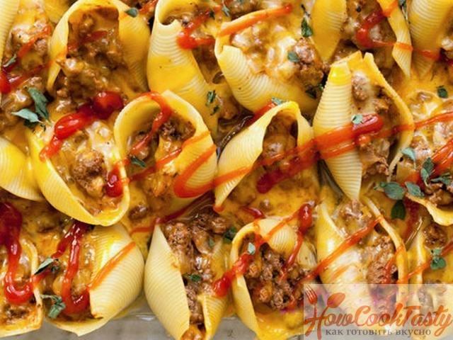 Фаршированные макароны-ракушки (конкильоны) с фаршем