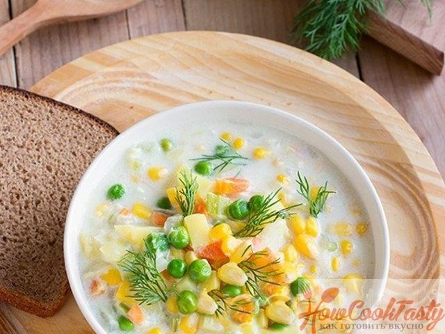 Овощной суп на молоке