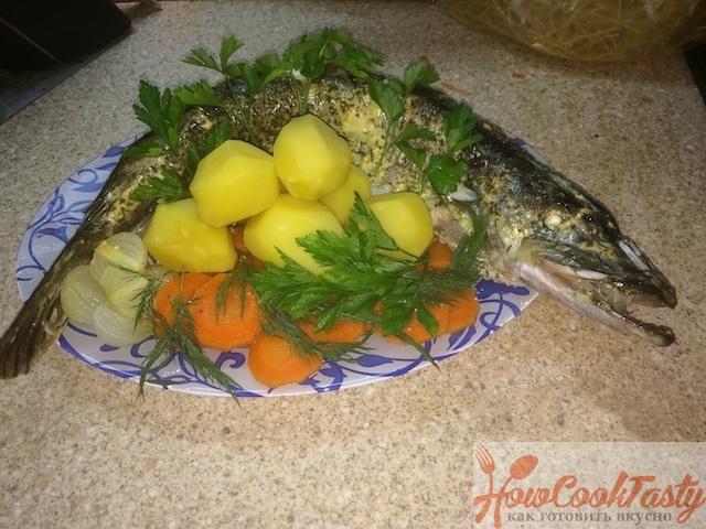 Фаршированная овощами щука в духовке
