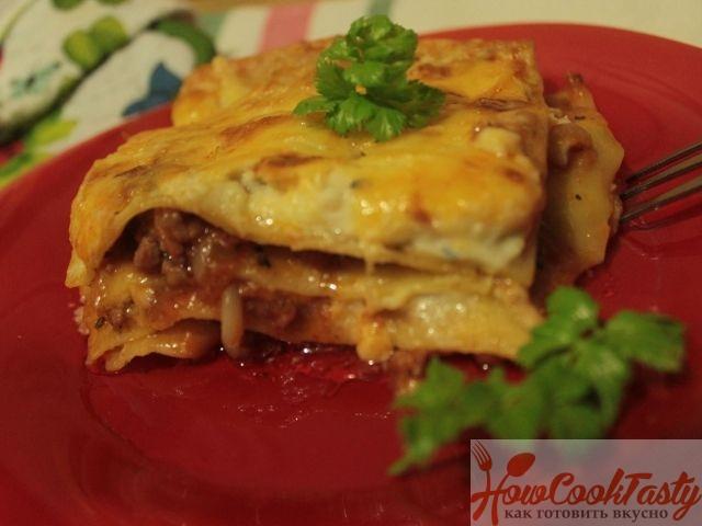 классический рецепт лазаньи с фаршем с соусом бешамель