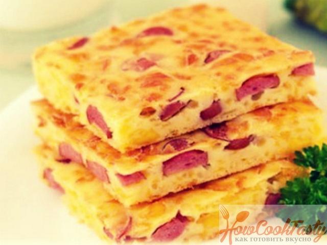 Пирог с сыром и сосисками — Рецепт
