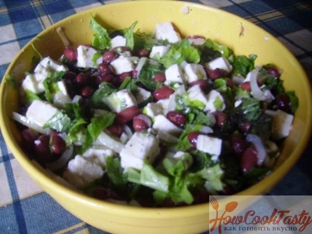 Теплый салат с фасолью — Рецепт