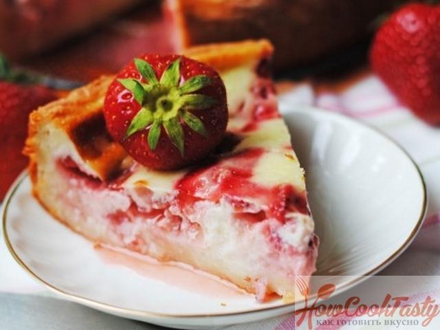 Пирог клубничный со сметаной