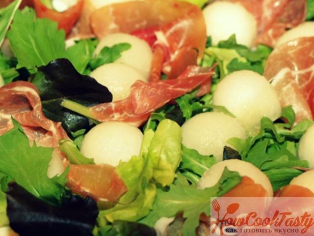 Итальянский салат с дыней — Рецепт