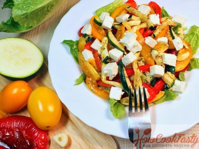 Салат из печеных овощей с фетой