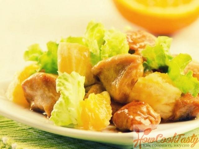 Салат с курицей, апельсинами и сыром Фета