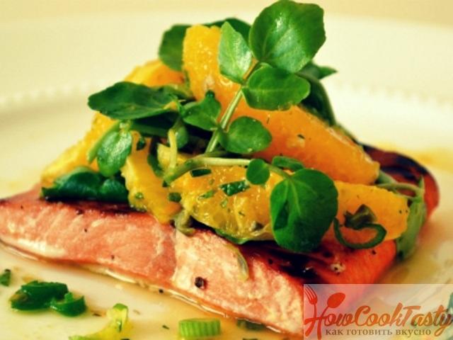Лосось с апельсиновым джемом — Рецепт