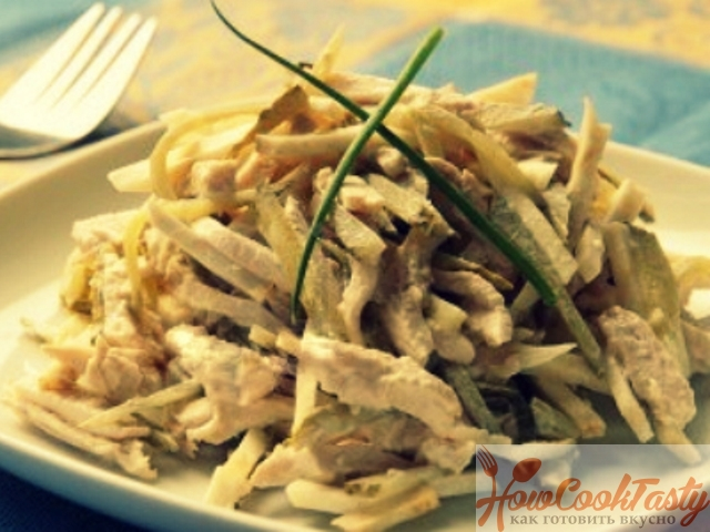 Салат с курицей и огурцами — Рецепт