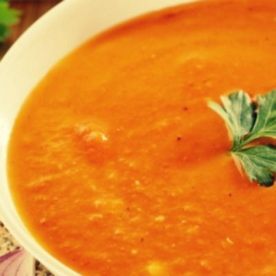 Крем-суп из красной чечевицы с тыквой