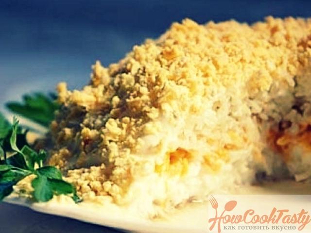Салат «Мимоза» с картошкой и рыбными консервами