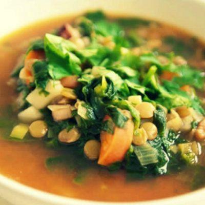 Суп с чечевицей и шпинатом - Рецепт