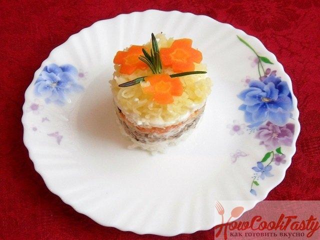 Рецепт салата «Мимоза» с рисом и рыбными консервами 2