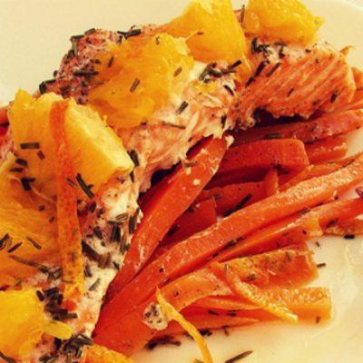 Форель с апельсином и морковью