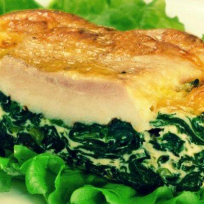 Рыба запеченная со шпинатом
