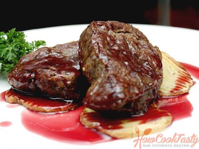 Шатобриан в соусе из красного вина