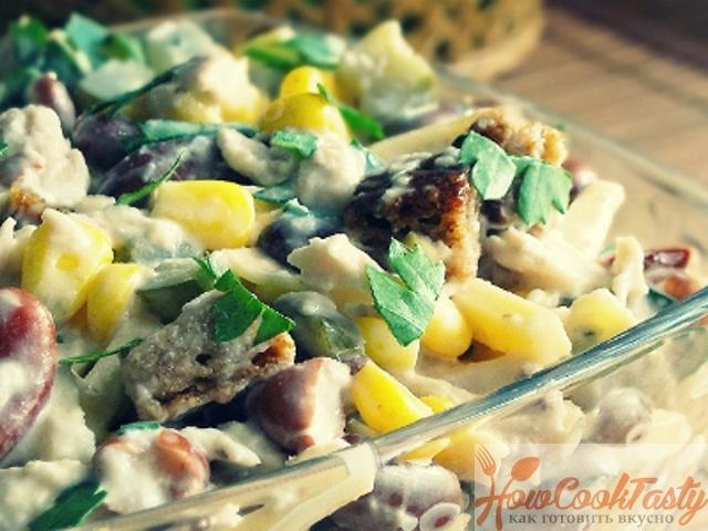 Салат из фасоли с куриным мясом