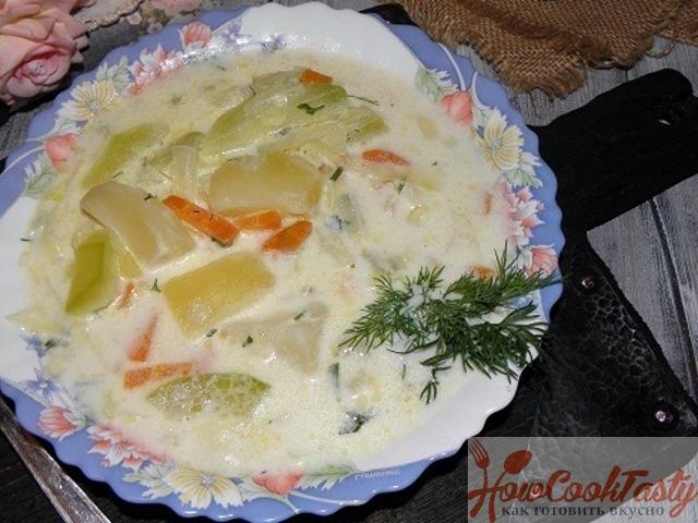 Молочный суп с кабачками