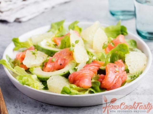 Салат из слабосоленого лосося с авокадо